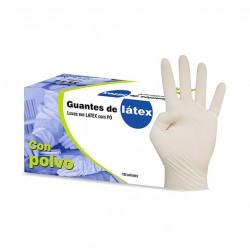 Caja guantes látex con polvo | Talla L | 100 unidades.